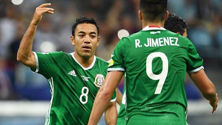 Marco Fabián festejando el gol ante Alemania