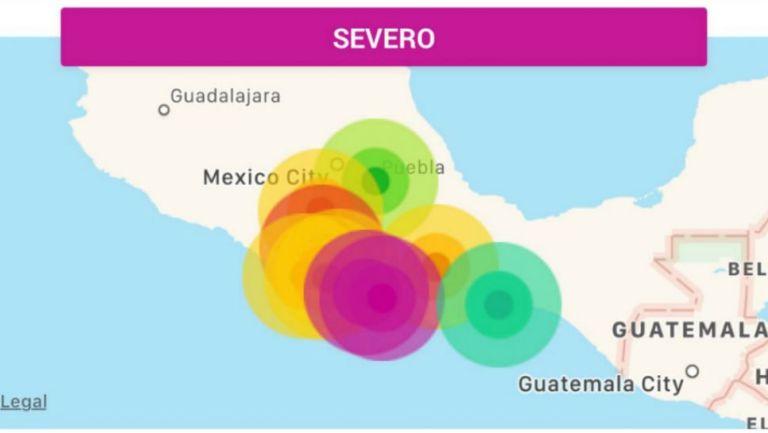 Estados en el que se sintió el sismo
