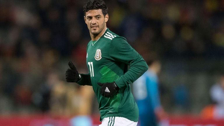 Vela, durante un partido con la Selección Mexicana