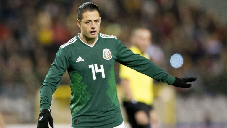Chicharito en amistoso de la Selección Mexicana