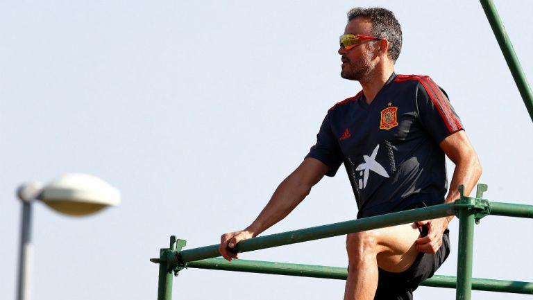 Luis Enrique Martínez, durante un entrenamiento con España