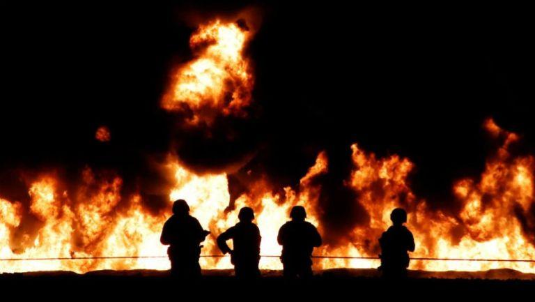 Fuego generado por la explosión de un ducto en Tlahuelilpan
