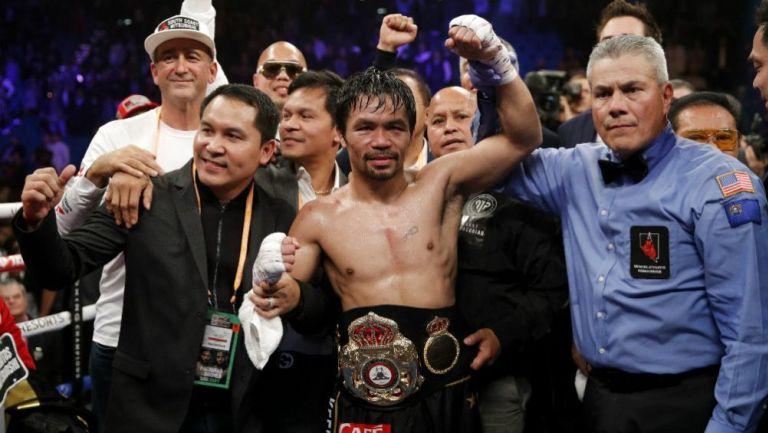 Manny Pacquiao tras vencer a Adrien Broner
