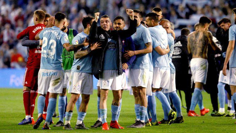 Celta de Vigo celebrando un triunfo