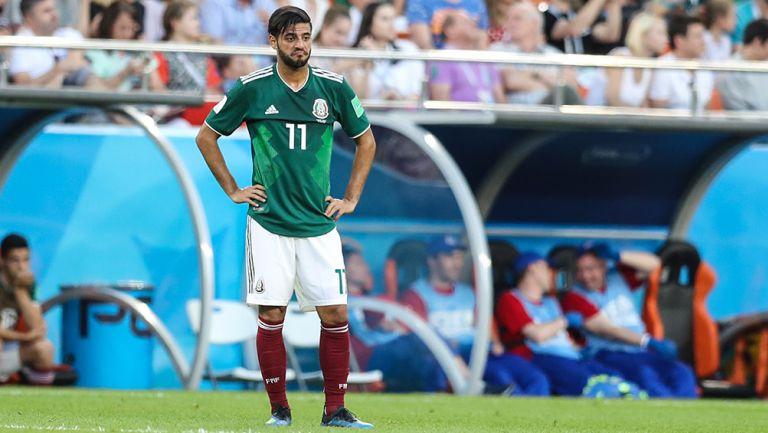 Carlos Vela se lamenta durante el Mundial de Rusia