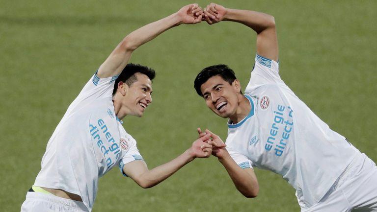 Chucky y Guti trasladaron su festejo de Pachuca al PSV