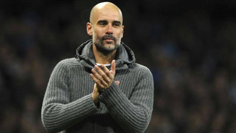 Pep Guardiola durante un encuentro ante el Leicester