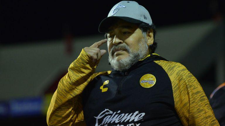 Maradona durante un partido del Ascenso MX
