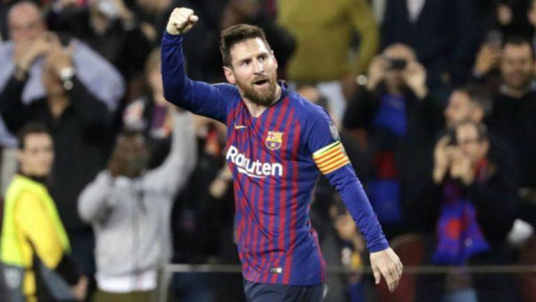 Leo Messi en festejo de gol con el Barcelona
