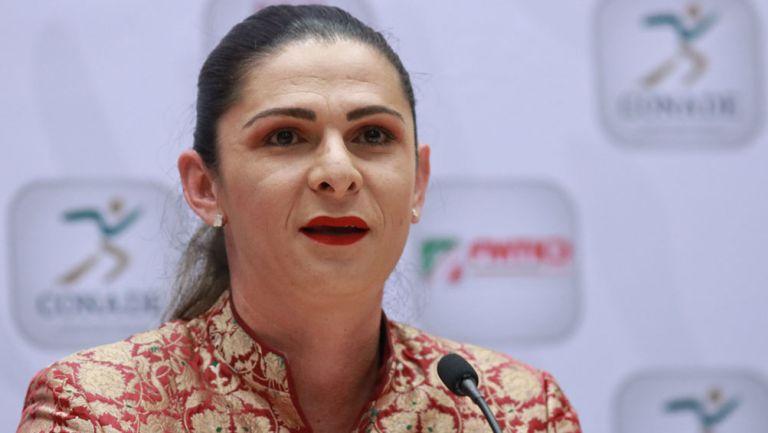Ana Gabriela Guevara, durante una conferencia de prensa