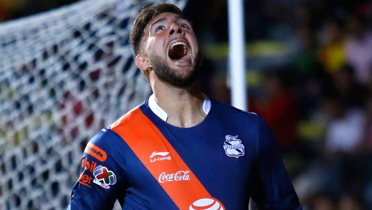 Cavallini celebra un gol con Puebla