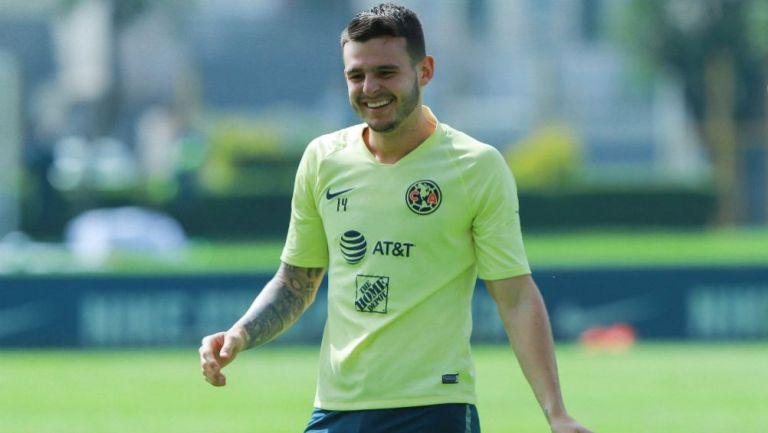 Nicolás Benedetti, en un entrenamiento del América