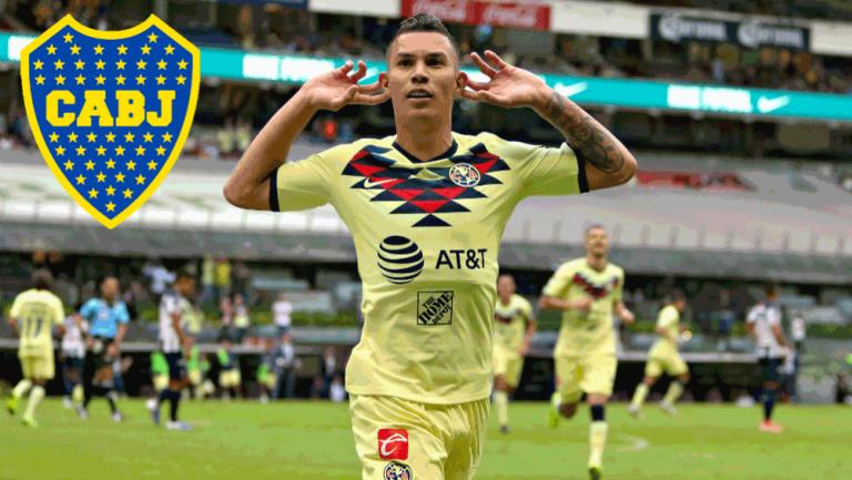 Mateus Uribe festeja un gol con América