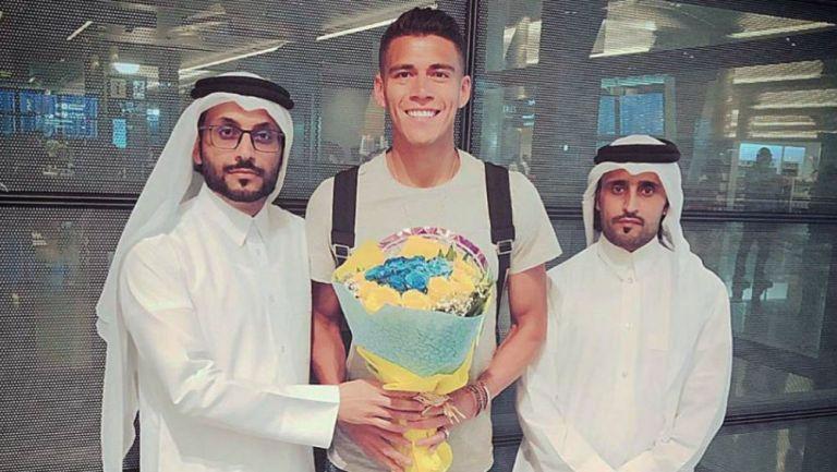 Héctor Moreno, en su llegada a Qatar