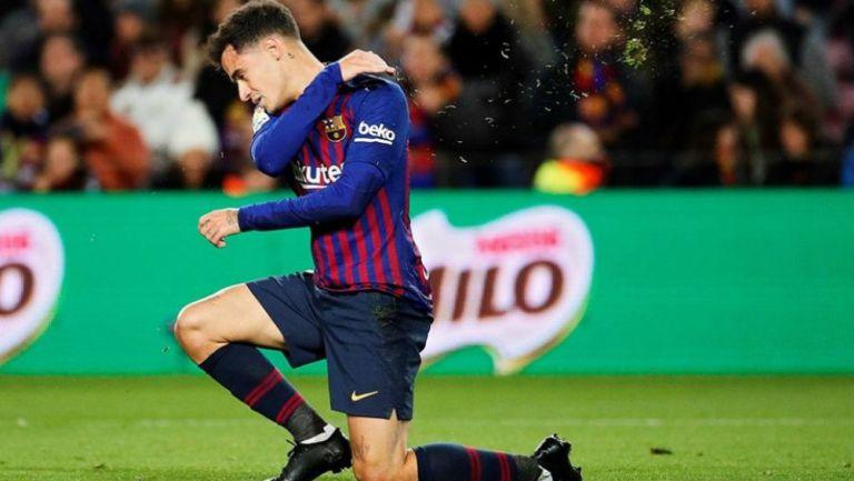 Phillipe Coutinho lamentándose de un fallo con Barcelona