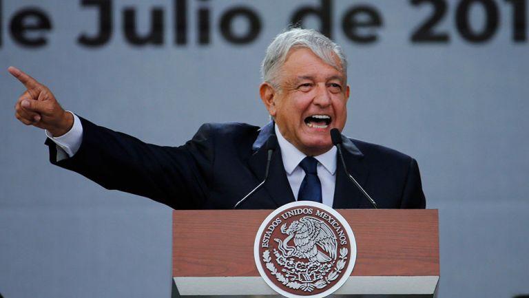 Andrés Manuel López Obrador en una conferencia de prensa