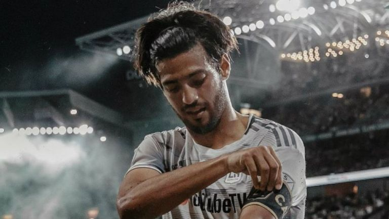 Carlos Vela celebrando su anotación ante Real Salt Lake