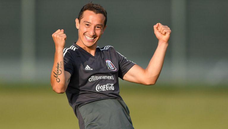Andrés Guardado durante un entrenamiento con la Selección Mexicana