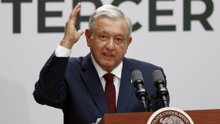 Andrés Manuel López Obrador durante su discurso de primer año de gobierno