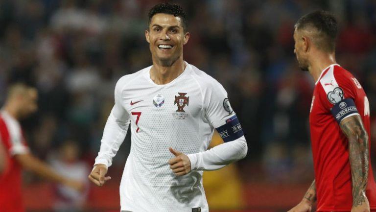 Cristiano, en festejo de Portugal