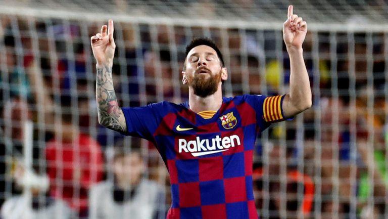Lionel Messi celebra un gol con el Barcelona en La Liga