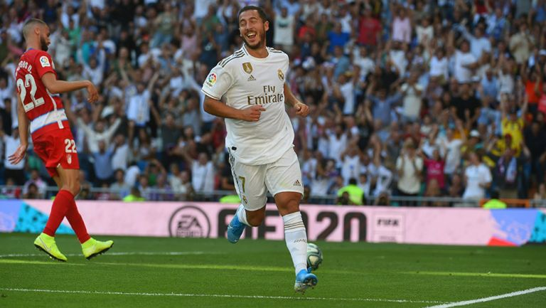 Hazard celebra gol con el Real Madrid