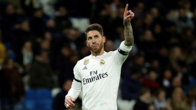 Sergio Ramos celebra una diana con el Real Madrid