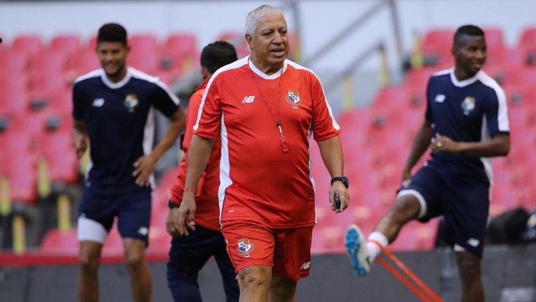 Gallego, en un entrenamiento de la Selección de Panamá