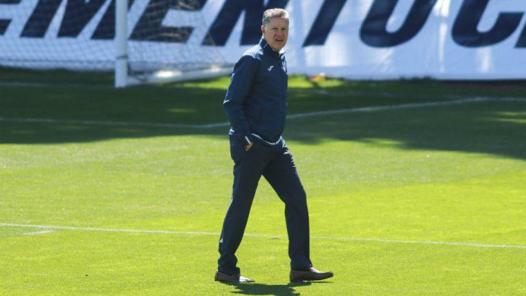 Ricardo Peláez, durante una práctica con La Máquina