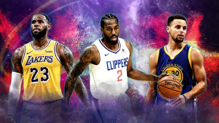 LeBron James, Kawhi Leonard y Stephen Curry