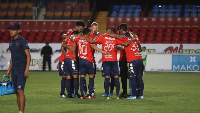 Los jugadores de Veracruz previo al partido de Copa