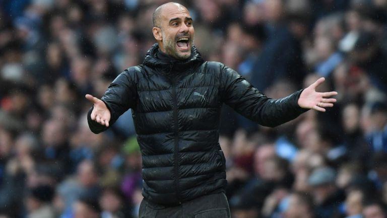 Pep Guardiola durante un duelo del Manchester City