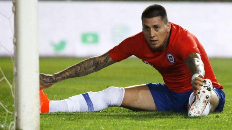 Nico Castillo, en un partido de Chile