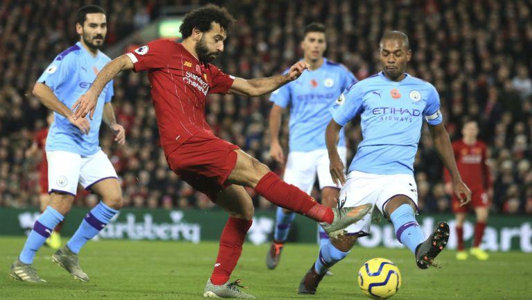 Mohamed Salah en el partido entre Liverpool y Manchester City