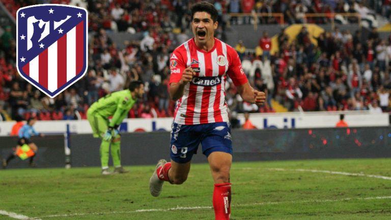 Nico Ibáñez festeja un gol ante Atlas con el Atlético de San Luis