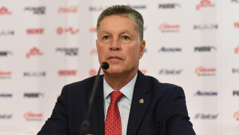 Ricardo Peláez en su presentación como Director Deportivo de Chivas
