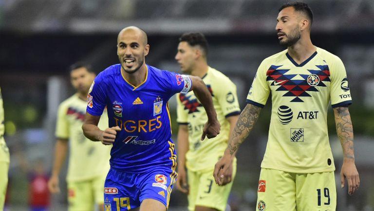 Guido Pizarro festeja su gol ante el América
