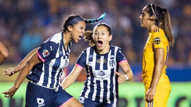 El festejo del gol de Rayadas de Monterrey