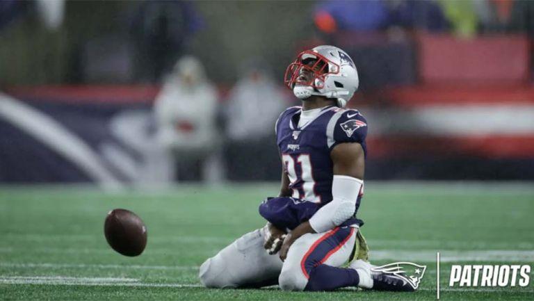 Duron Harmon lamenta una jugada con Patriots