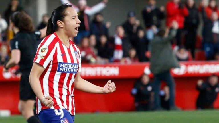 Charlyn, en festejo en un partido del Atlético
