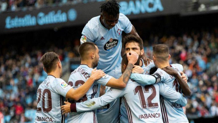Jugadores de Celta de Vigo celebrando una anotación