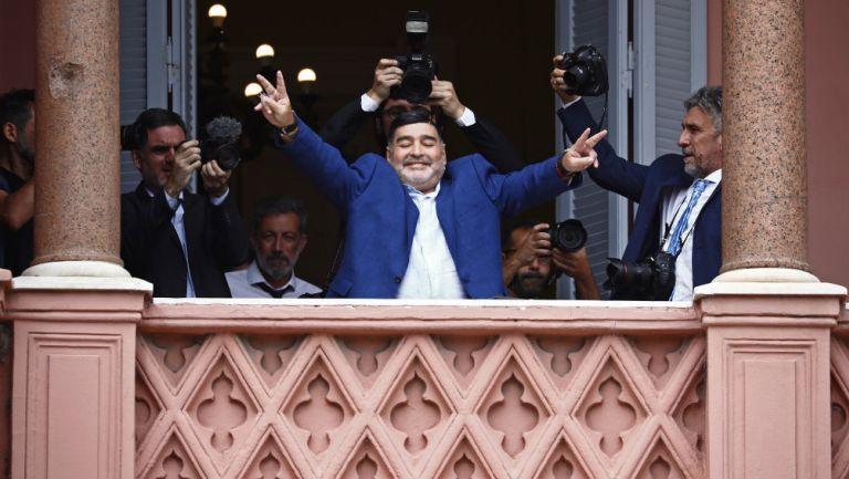 Diego Maradona en la Casa Rosada