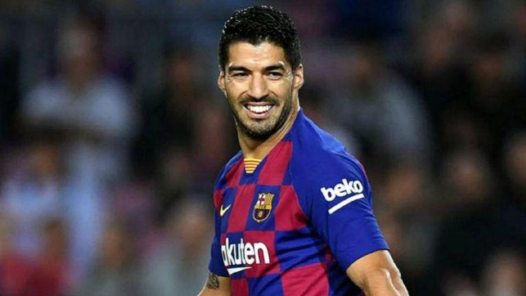 Luis Suárez sonríe durante un juego del Barcelona