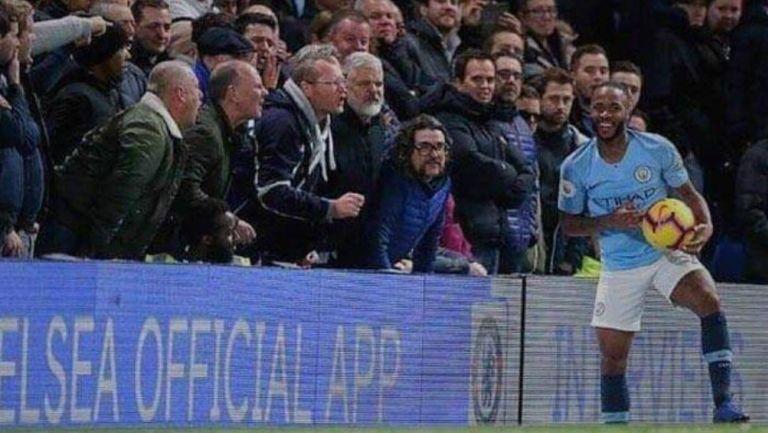 Raheem Sterling en juego con el Manchester City