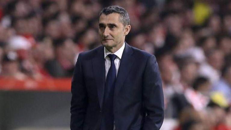 Ernesto Valverde durante un duelo del Barcelona