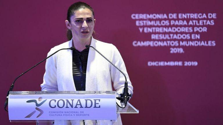 Ana Guevara, en una conferencia de prensa