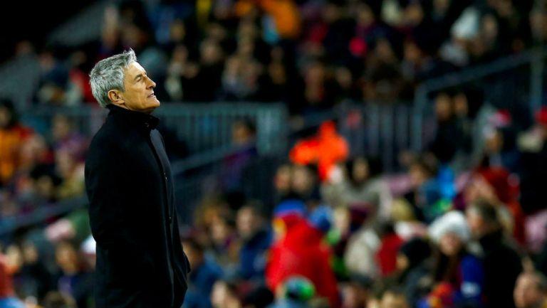 Quique Setién en su primer partido con Barcelona