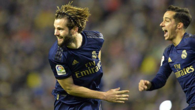 Nacho celebrando su anotación ante Valladolid