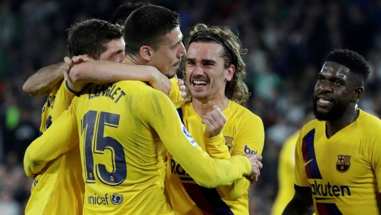 Barcelona festejando victoria