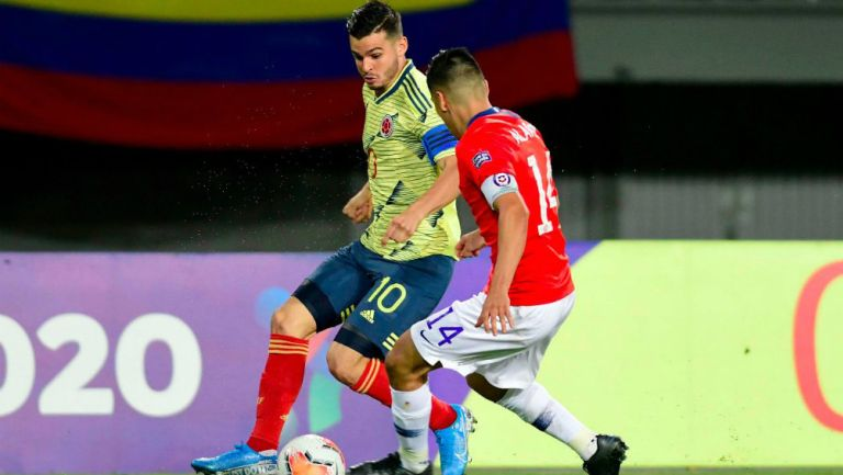 Nicolás Benedetti durante un partido con Colombia